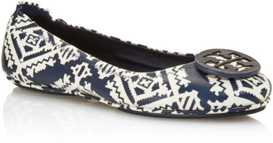 Tory Burch tapestry geo/navy Flats