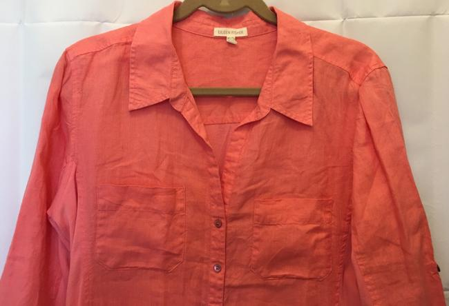 Eileen Fisher Linen And Cotton Sleeve Straps Two Pockets Button Front Top Coral
