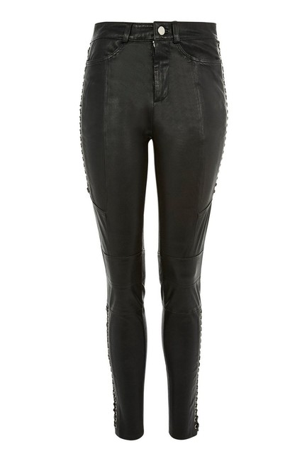 Topshop Leather Lace Up Biker Skinny Pants Black