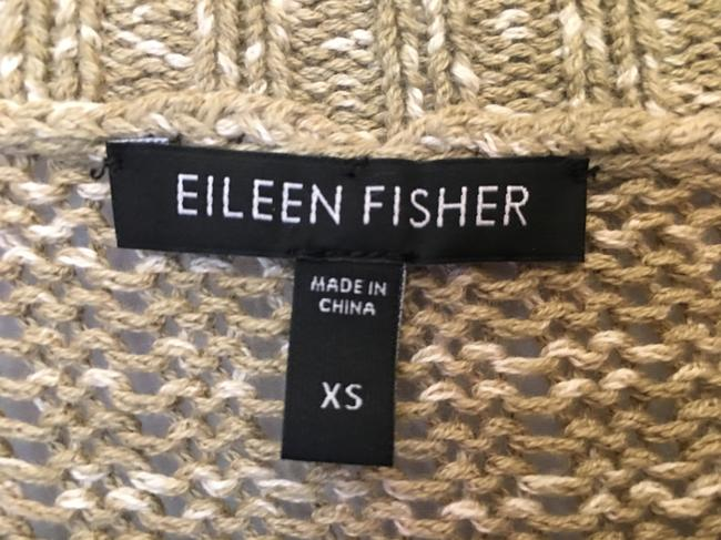 Eileen Fisher Cotton Quarter Sleeves Iridescent Buttons Sweater Cardigan