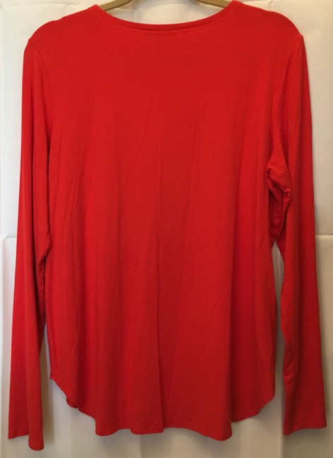 Eileen Fisher Viscose Blend Boat Neck Long Sleeve Large T Shirt Red