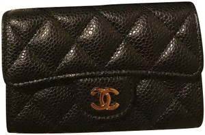 Chanel CHANEL Caviar Quilted Card Holder Black