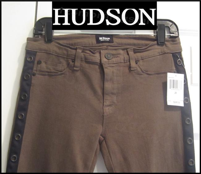 Hudson Super Ankle Mid Rise Tonal Top Stitching Copper Hardware Side Stripe/Beading Skinny Jeans-Dark Rinse