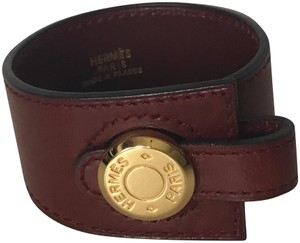 Hermès burgundy leather bracelet