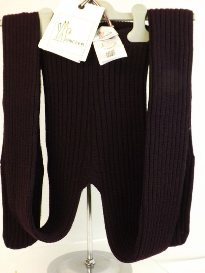 Moncler DARK PLUM WOOL RIBBED KNITTED TIGHTS PANTYHOSE ONE SIZE $285 ITALY
