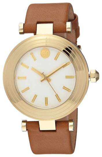 Preload https://img-static.tradesy.com/item/24062453/tory-burch-gold-t-classic-t-35-mm-luggage-leather-watch-0-3-540-540.jpg