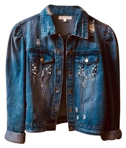 Honey Punch Distressed Pearl Womens Jean Jacket