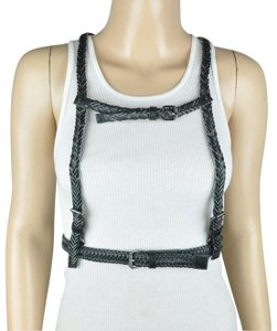 Unbranded Black Braided Faux Leather Harness Belt