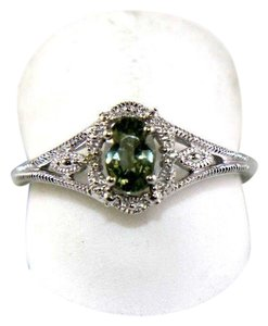 Other Oval Cut Green Sapphire Ring w/Diamond Halo 14K White Gold .73Ct