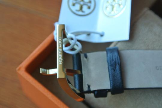 Tory Burch Gold T Classic-t 35 Mm Black Leather Watch