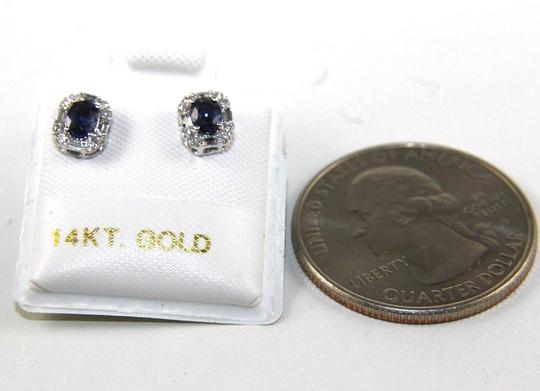 Other Oval Blue Sapphire & Diamond Halo Stud Earrings 14K White Gold .47Ct