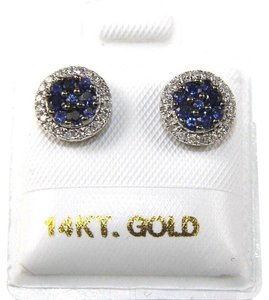 Other Round Blue Sapphire & Diamond Cluster Stud Earrings 14K WG .46Ct