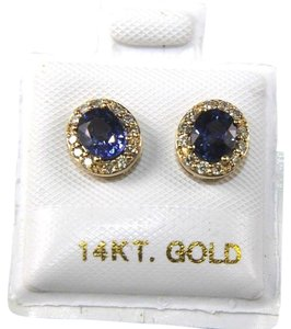Other Oval Blue Sapphire & Diamond Halo Stud Earrings 14K Yellow Gold 1.18Ct