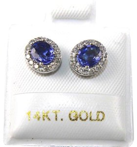 Other Oval Blue Sapphire & Diamond Halo Stud Earrings 14K White Gold 1.18Ct