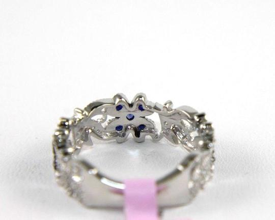 Other Flower Shape Sapphire & Diamond Cluster Ring Band 14K White Gold .46Ct