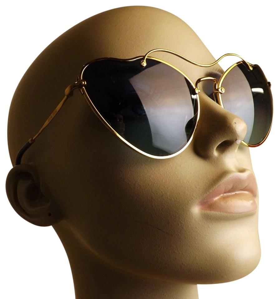 5af88ed88d4 Miu Miu Gold Smu55r Scenique Heart Cat Eye Metal Sunglasses - Tradesy