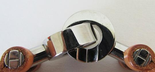 Hermès Hermes Tan Leather Palladium Clasp Bangle Bracelet