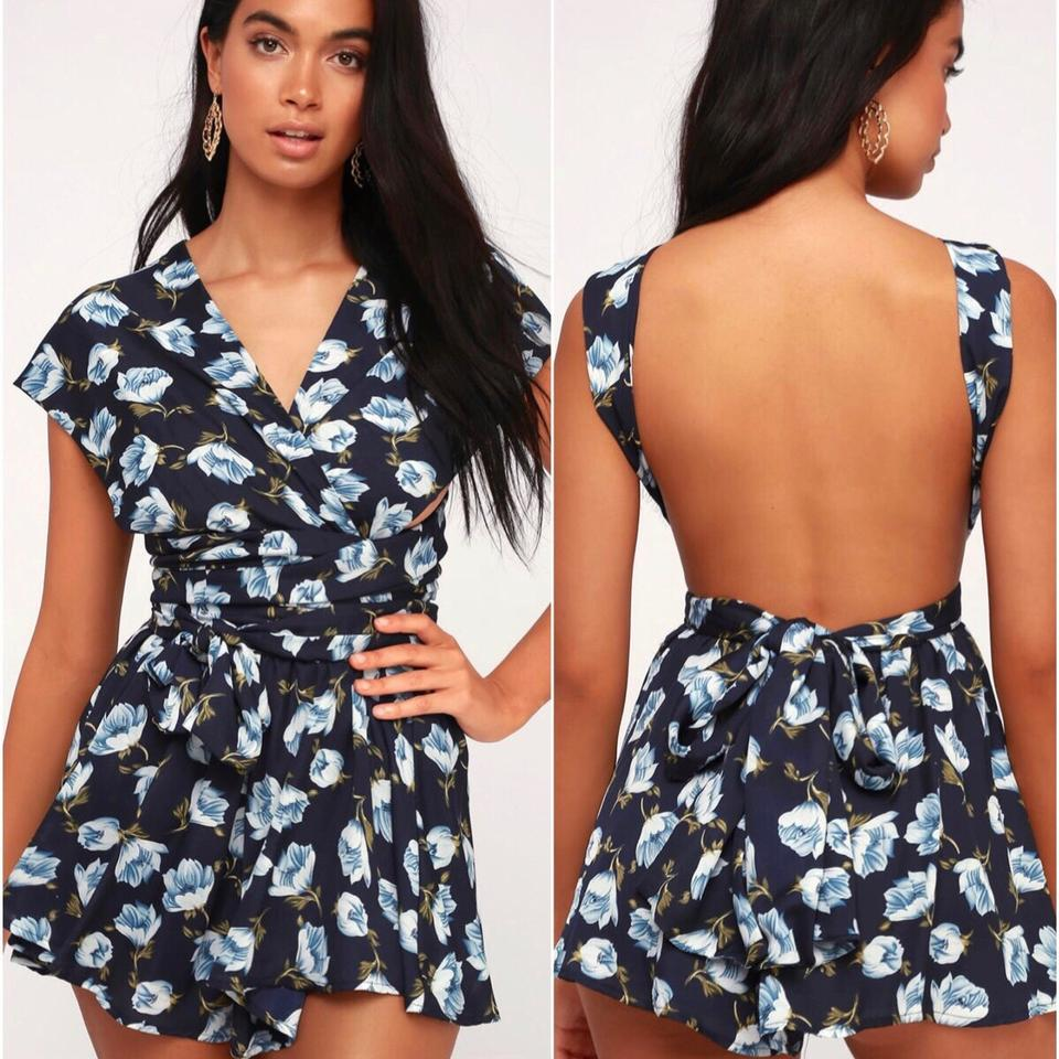 10b4b25e058 Lulu s Black Blue Convertible Floral Flared Boho Hippy Gypsy Romper Jumpsuit  - Tradesy