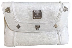 MCM MCM Medium Studded MCM Logo Cream Leather Bi-fold Wallet