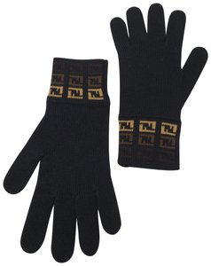 Fendi Black tan Fendi Zucca monogram knit gloves