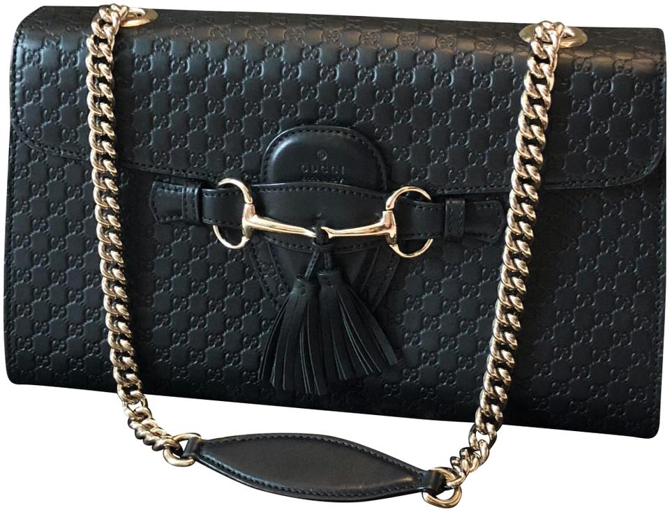 d542611e16d7 Gucci Emily Guccissima Chain Black Leather Shoulder Bag - Tradesy