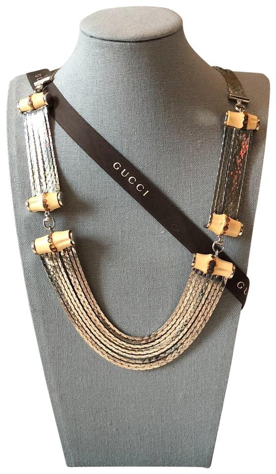 cd03db2e5 Gucci Runway Gucci Sterling Silver Horsebit & Bamboo Multi-strand Long  Necklace.