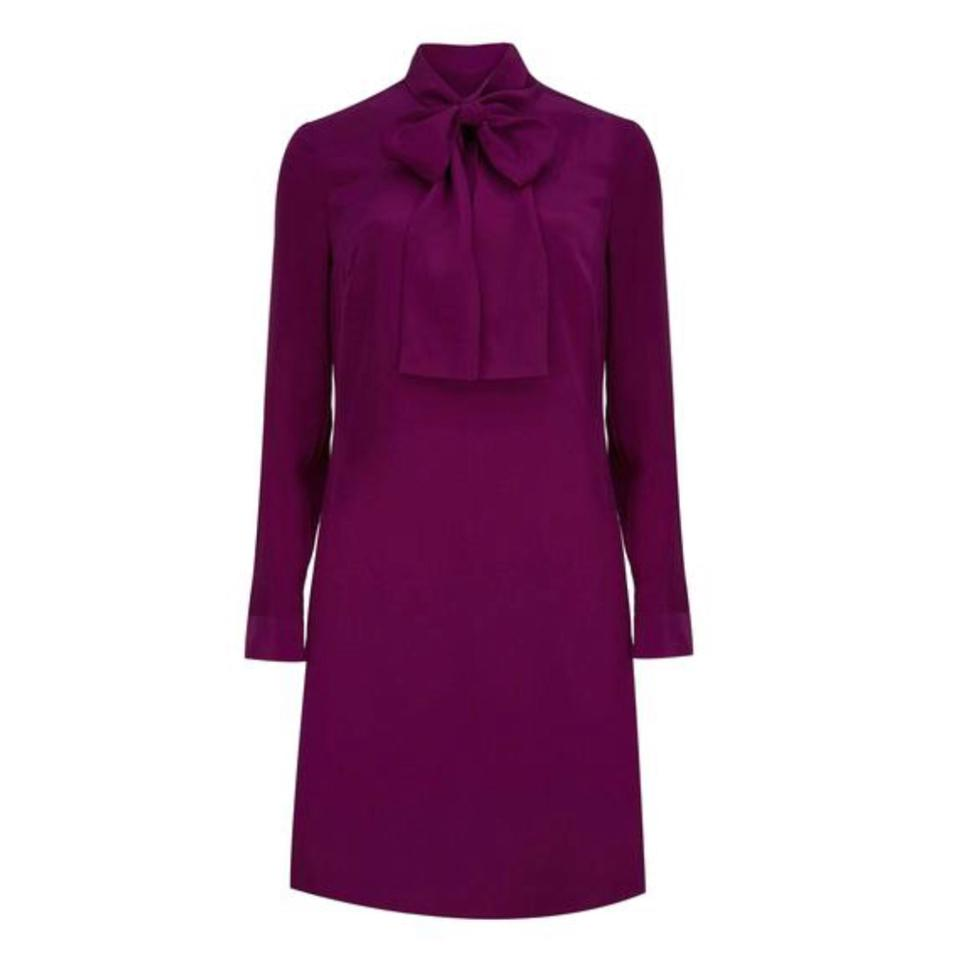 9a8a2bc0e4c868 Ted Baker Mid Purple Pussy Bow Tunic Mid-length Work Office Dress ...