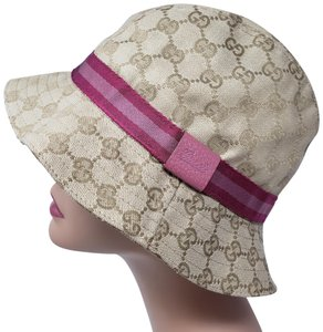 Gucci Tan GG web canvas Gucci bucket hat M sz
