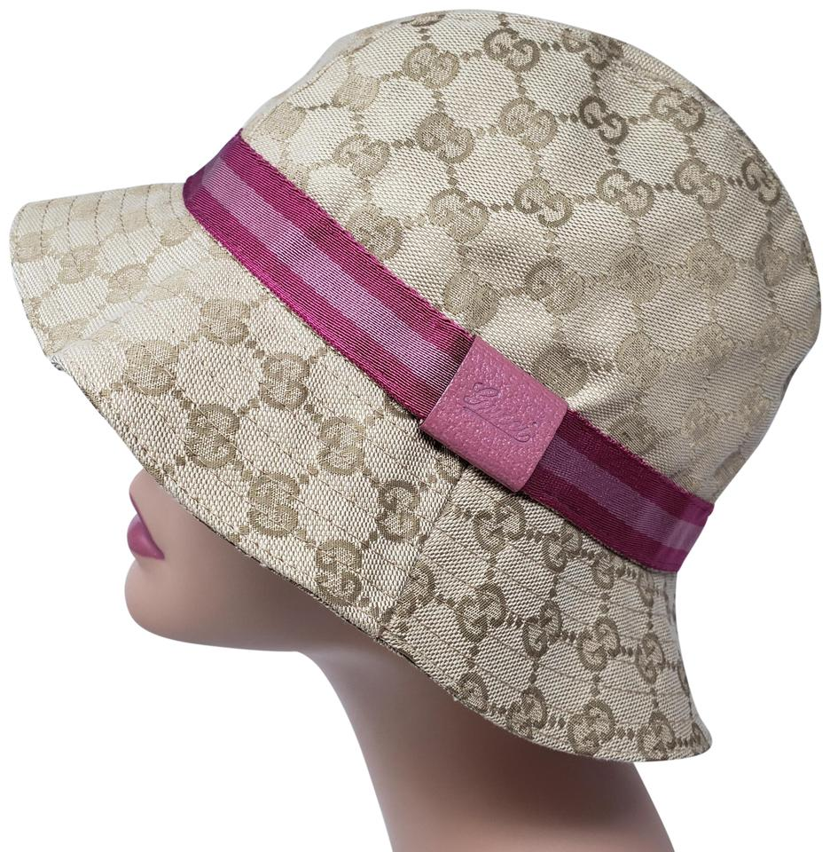 Gucci Beige Tan Gg Web Canvas Bucket M Hat - Tradesy 7f9495b0393