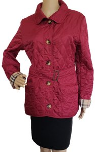 Burberry Belted Silver Hardware Nova Check Quilted House Check Red Jacket