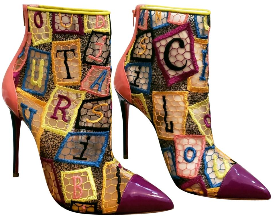 66547c77e3b8 Christian Louboutin Multi Color Gipsy 100 Pointed Toe Red Sole Boots ...