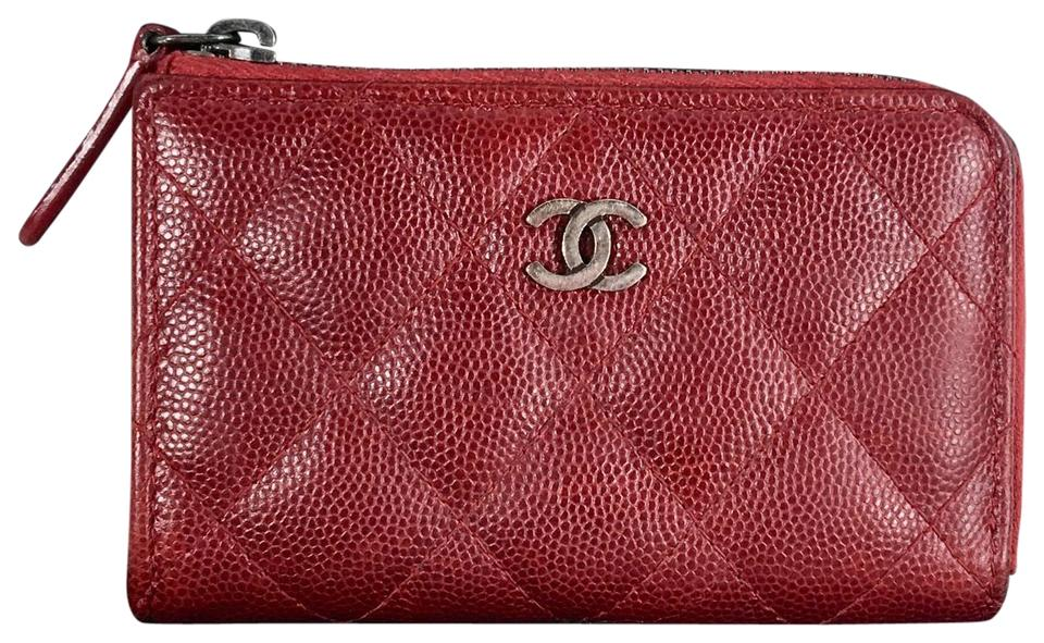 b84c5ff245be Chanel Red Coin Key Cles Chain Card Holder Wallet - Tradesy