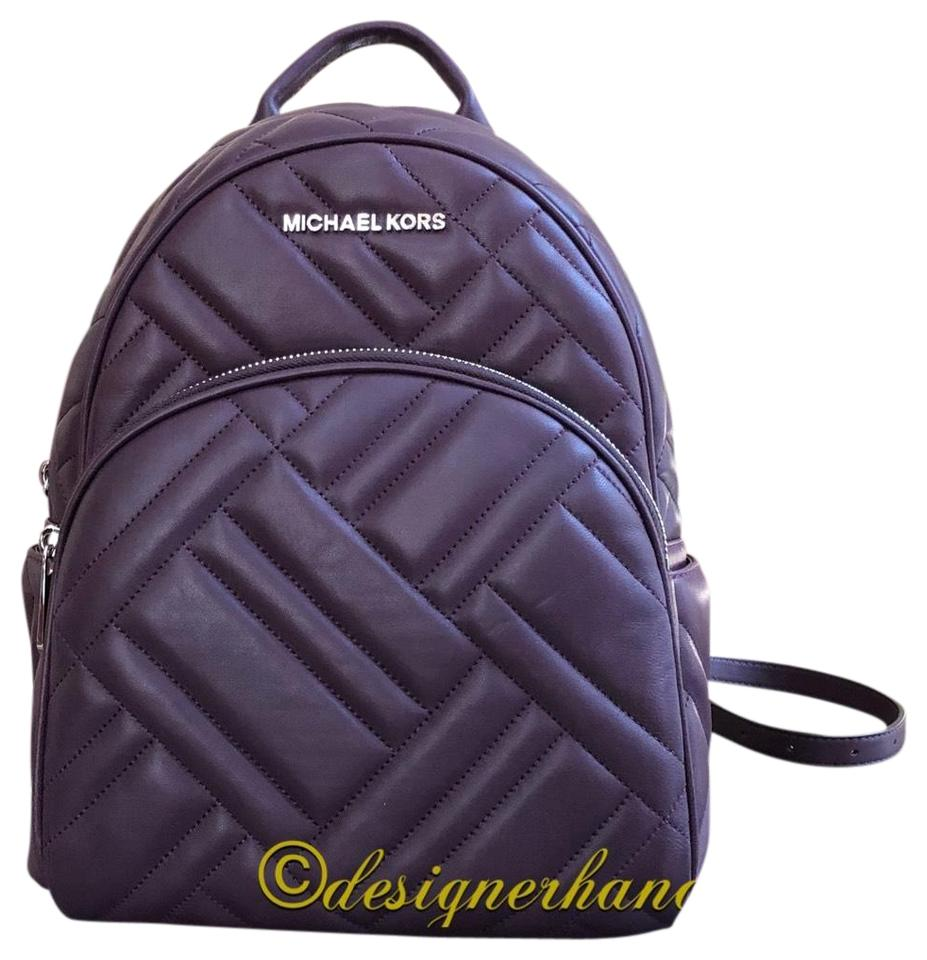 eadd2c3fe25ba Michael Kors Medium Abbey Chevron Quilted Top Handle Damson Leather  Backpack 49% off retail
