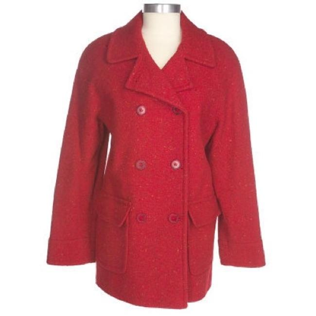 Item - Red Wool Blend Double Breasted Coat Size 10 (M)