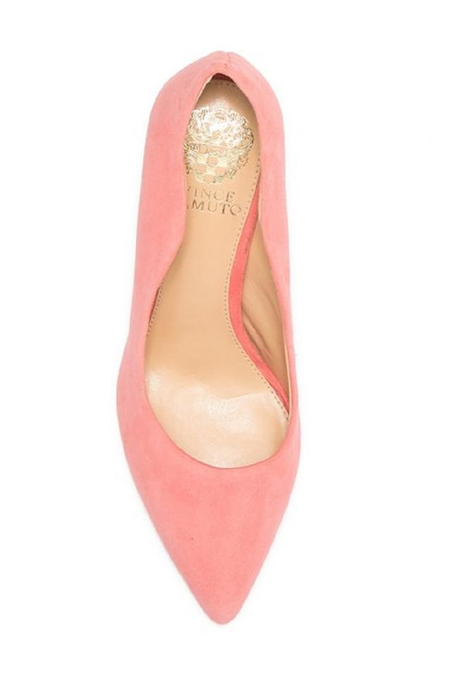 a83cc2891bb Vince Camuto Coral Pink Jaynita Suede Leather Pointed Toe Pumps Size ...