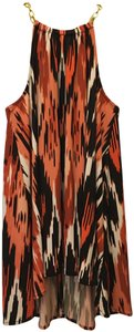 Michael Kors Black Print Gold Chain Detail High Low Hem Size Xs 0 To 2 New With Tags Top Orange Multi