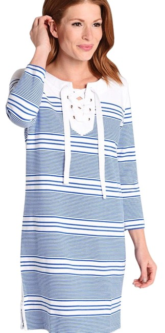 Item - Blue-white Yacht Stripe Tie-front Knit Mid-length Short Casual Dress Size 6 (S)