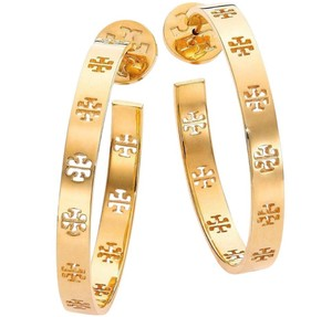 Tory Burch T Pierced Logo Hoop Earrings