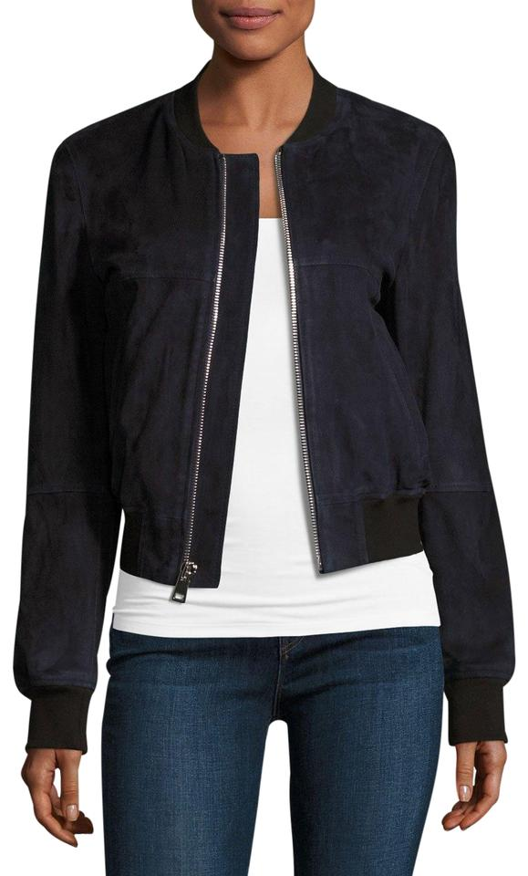 a38f6464d7 Theory Navy Blue Daryette S Benna Suede Bomber New Women S P Jacket ...