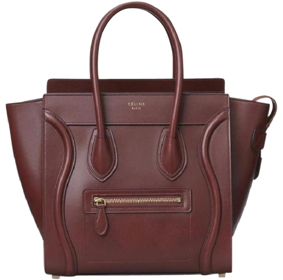 bc97f25765 Céline Luggage Micro Red Wood Leather Tote - Tradesy