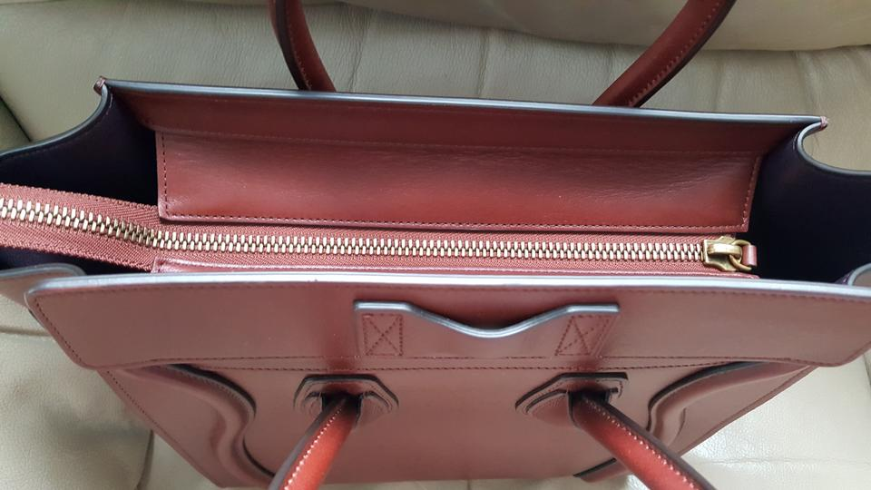 14f6c360f9 Céline Micro Luggage Tote in Red wood Image 11. 123456789101112