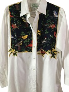 Quacker Factory Bird Motif Jeweled Shirt Nature Theme Top White