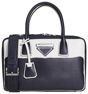 Prada Leather Tote in Black & white