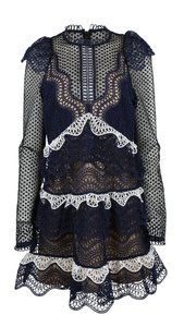 self-portrait Lace Guipure Wave Longsleeve Dress