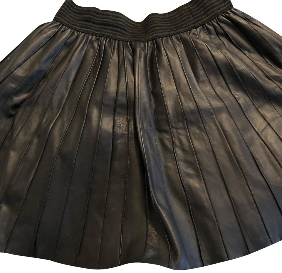 b63fcc8cfd Parker Black Pleated Leather Skirt Size 6 (S, 28) - Tradesy