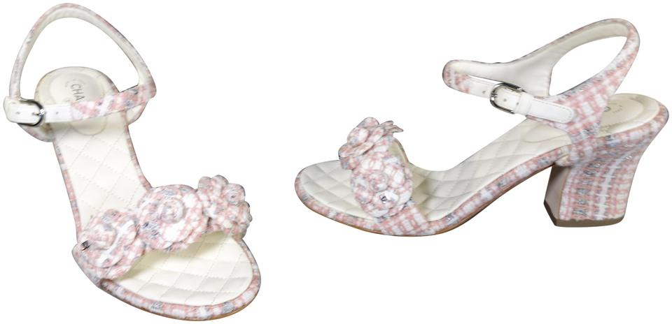 498eb25a08d Chanel Pink Grey Beige Cotton Tweed Chunky Heel Camellia Flowers Ankle  Strap New Sandals. Size  EU 38.5 (Approx.