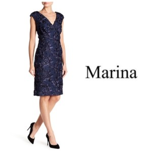 Marina Cap Sleeve Lace Sequins V-neck Evening Dress