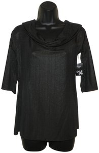 City Streets Stretchy Cowl Neck Sleeves Top Black
