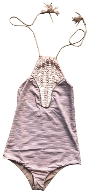 Item - Nude and Pink Reversible Striped Crochet One-piece Bathing Suit Size 8 (M)