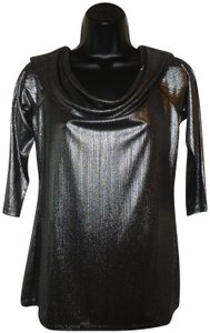 City Streets Neck Stretchy Sleeves Top Silver